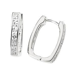 Cubic Zirconia Earrings- 0.50 Carat Hinged Hoop Princess CZ Earring Set