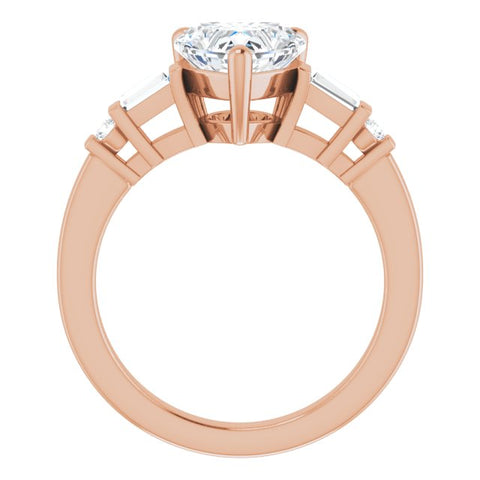 10K Rose Gold Customizable 5-stone Baguette+Round-Accented Heart Cut Design)