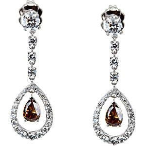 Cubic Zirconia Earrings- 2.82 Carat Extended Halo Pear Drop Earring Set