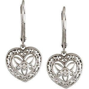 Cubic Zirconia Earrings- 0.02 Carat Heart Design CZ Lever Back Dangle Earring Set