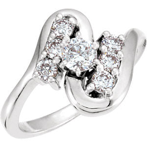 Cubic Zirconia Engagement Ring- The Genevieve (Customizable 7-stone with Freeform Design)
