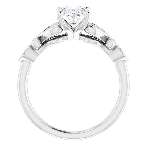 Platinum Customizable 7-stone Design with Oval Cut Center Plus Sculptural Band and Filigree