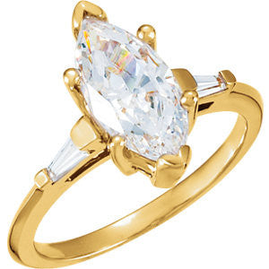 Cubic Zirconia Engagement Ring- The Mylove (0.50-4.0 Carat Marquise-cut 3-stone with Baguettes)