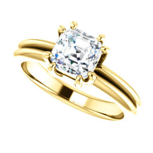 Cubic Zirconia Engagement Ring- The Reese (Customizable Asscher Cut Solitaire with Grooved Band)
