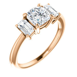 Cubic Zirconia Engagement Ring- The Andrea (Customizable Cushion Cut 3-stone with Dual Emerald Cut Accents)