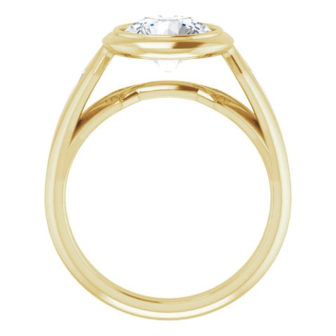 14K Rose Gold Customizable Bezel-set Round Cut Design with Wide Split Band & Tension-Channel Baguette Accents