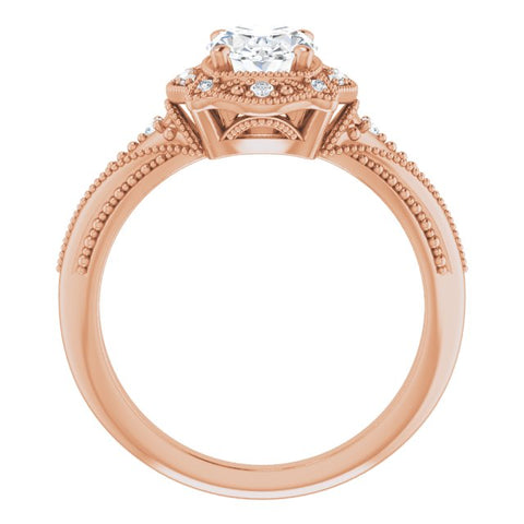 10K Rose Gold Customizable Vintage Oval Cut Design with Beaded Milgrain and Starburst Semi-Halo