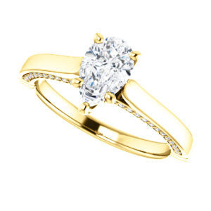 Cubic Zirconia Engagement Ring- The Tonja (Customizable Pear Cut Semi-Solitaire with Dual Three-sided Pavé Band)