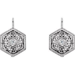 Cubic Zirconia Earrings- 0.06 Carat Floral-Inspired Filigree Solitaire Dangle Earring Set