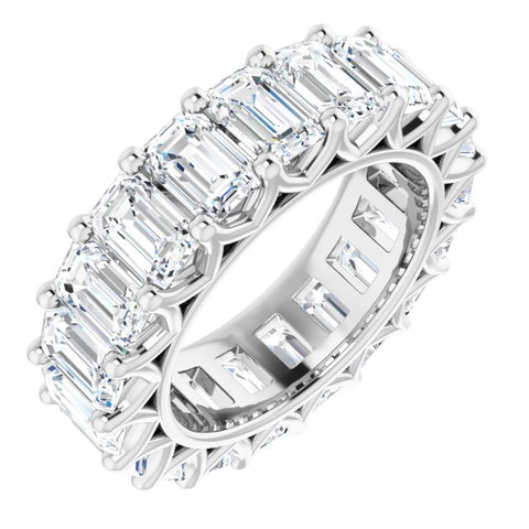 Cubic Zirconia Ring-*Clearance* Cubic Zirconia Anniversary Ring Band, Style S12-3391 (Emerald Eternity) in Platinum
