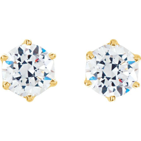 Cubic Zirconia Earrings- Customizable 6-Prong CZ Youth Stud Earring Set