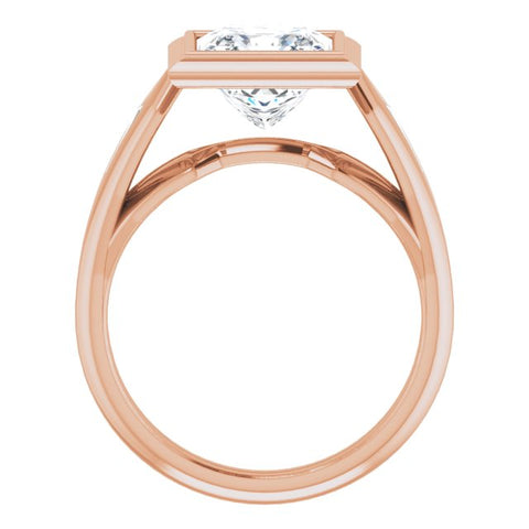 10K Rose Gold Customizable Bezel-set Princess/Square Cut Design with Wide Split Band & Tension-Channel Baguette Accents