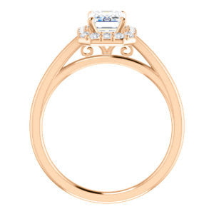 CZ Wedding Set, featuring The Tyra engagement ring (Customizable Cathedral-set Emerald Cut Style with Halo, Decorative Trellis and Thin Band)