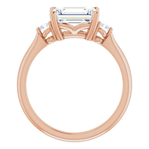 10K Rose Gold Customizable 3-stone Emerald/Radiant Cut Design with Twin Petite Round Accents