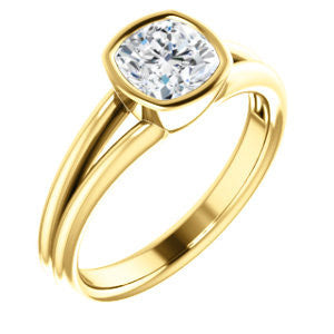 Cubic Zirconia Engagement Ring- The Shae (Customizable Cushion  Cut Split-Band Solitaire)