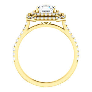 Cubic Zirconia Engagement Ring- The Alisa (Customizable Asscher Cut with Geometric Double Halo)