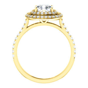 Cubic Zirconia Engagement Ring- The Alisa (Customizable Cushion Cut with Geometric Double Halo)