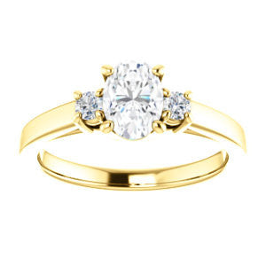 Cubic Zirconia Engagement Ring- The Jacqueline (Customizable Oval Cut 3-stone with Thin Band and Dual Round Prong Accents)