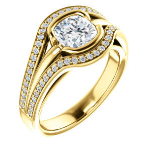 Cubic Zirconia Engagement Ring- The Magdalena Oha (Customizable Bezel-set Cushion Cut Style with Wide Tri-split Pavé Band)