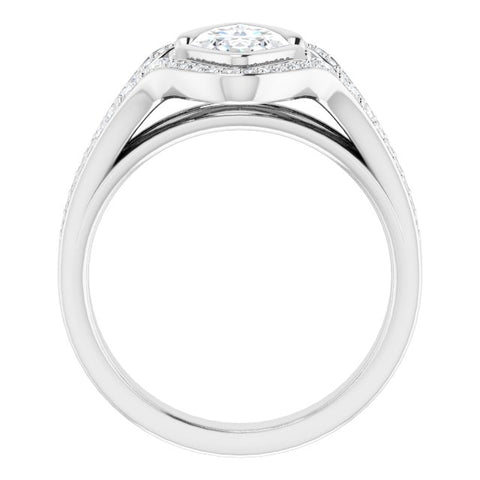 10K Rose Gold Customizable Cathedral-Bezel Marquise Cut Design with Wide Triple-Split-Pavé Band