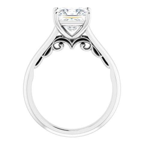 14K White & Rose Gold Customizable Princess/Square Cut Cathedral Solitaire with Two-Tone Option Decorative Trellis 'Down Under'