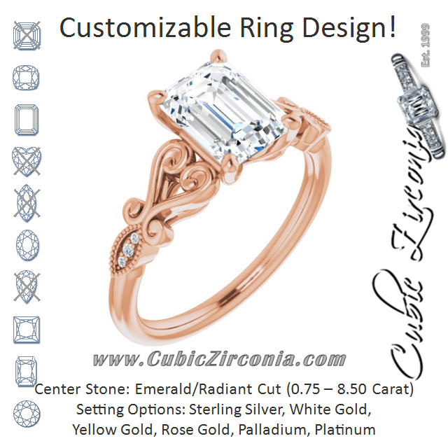 Cubic Zirconia Engagement Ring- The Annika (Customizable 7-stone Design with Emerald Cut Center Plus Sculptural Band and Filigree)