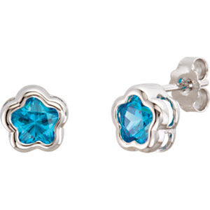 Cubic Zirconia Earrings- Kids' Star-Shaped CZ Stud with Customizable Colored Stone Choice