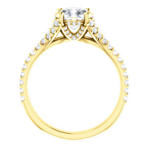 Cubic Zirconia Engagement Ring- The Marilyn (Customizable Cathedral-set Cushion Cut Center with Split-Pavé Band and Prong Accents)