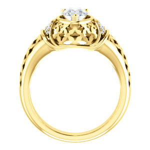 Cubic Zirconia Engagement Ring- The Leilani (Customizable Pear Cut Vintage Crown Setting with Oversized Crosshatch Band)