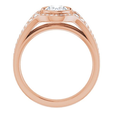 10K Rose Gold Customizable Cathedral-Bezel Oval Cut Design with Wide Triple-Split-Pavé Band