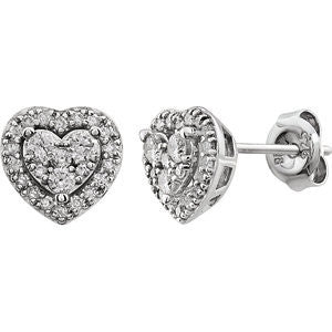 Cubic Zirconia Earrings- Halo-Styled Stud