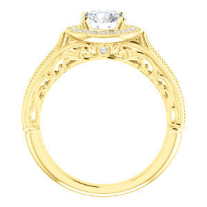 Cubic Zirconia Engagement Ring- The Zöe (Customizable Vintage Round Cut Greek Goddess Design)