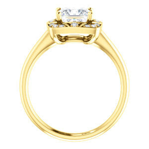 Cubic Zirconia Engagement Ring- The Rachal (Customizable Segmented Cluster-Halo Enhanced Princess Cut Design with Thin Band)