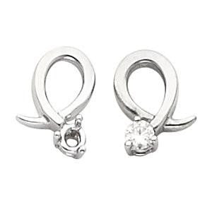 Cubic Zirconia Earrings- 0.20 Carat Ribbon Inspired Round Cut Prong Earring Set