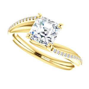 Cubic Zirconia Engagement Ring- The Teena (Customizable Asscher Cut with 3-sided Twisting Pavé Split-Band)