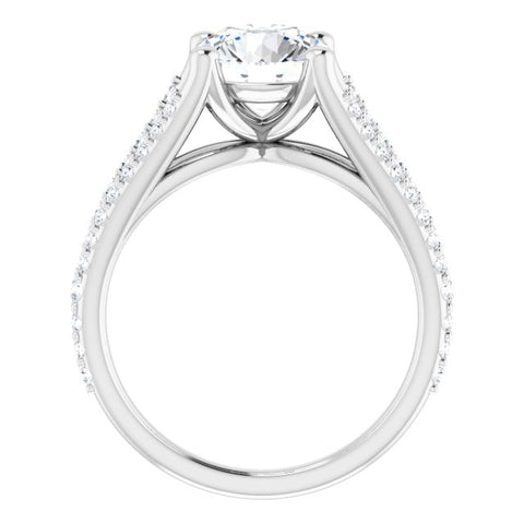 18K White Gold Customizable Cathedral-raised Round Cut Center with Exquisite Accented Split-band