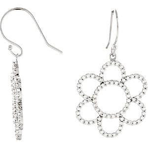Cubic Zirconia Earrings- 0.84 Carat, 166-stone Petite Flower Dangle Earring Set