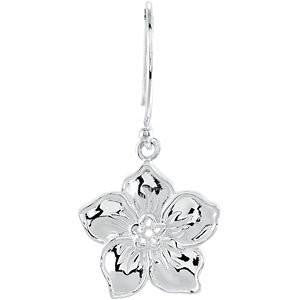 "Cubic Zirconia Earrings- 0.04 Carat ""Forget Me Not"" Flower Design Dangle Earring Set"