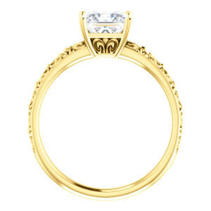 Cubic Zirconia Engagement Ring- The Brittney (Customizable Princess Cut Solitaire with Scrolled Engraving)