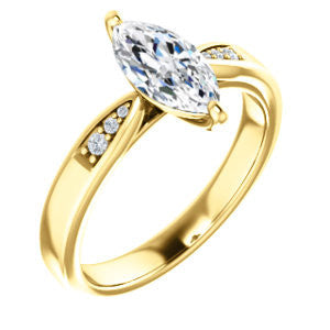 Cubic Zirconia Engagement Ring- The Ximena (Customizable Cathedral-Set Marquise Cut 7-stone Design)