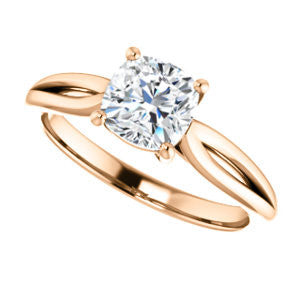 Cubic Zirconia Engagement Ring- The Viola (Customizable Cushion Cut Solitaire with Curving Tapered Split Band)