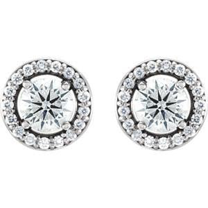 Cubic Zirconia Earrings- Customizable Round Cut Halo-Styled Stud Earring Set