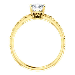 Cubic Zirconia Engagement Ring- The Brittney (Customizable Cushion Cut Solitaire with Scrolled Engraving)