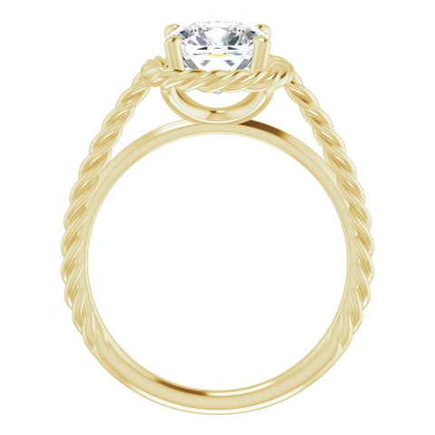 10K Rose Gold Customizable Cathedral-set Cushion Cut Solitaire with Thin Rope-Twist Band