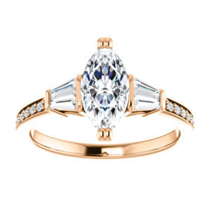 Cubic Zirconia Engagement Ring- The Hazel Rae (Customizable Marquise Cut Design with Quad Baguette Accents and Pavé Band)