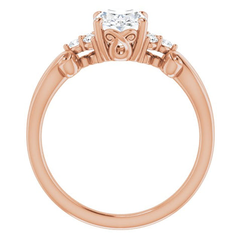 10K Rose Gold Customizable 7-stone Oval Cut Design with Tri-Cluster Accents and Teardrop Fleur-de-lis Motif