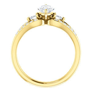 Cubic Zirconia Engagement Ring- The Karen (Customizable Enhanced 3-stone Design with Marquise Cut Center, Dual Trillion Accents and Wide Pavé-Split Band)