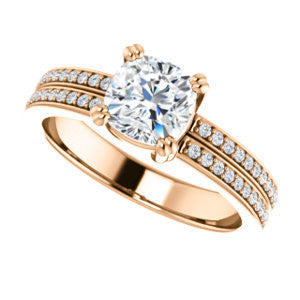 Cubic Zirconia Engagement Ring- The Trudy (Customizable Cushion Cut Style with Wide Double Pavé Band)