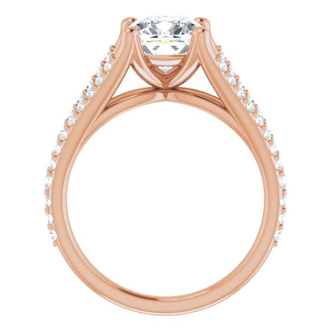 10K Rose Gold Customizable Cathedral-raised Cushion Cut Center with Exquisite Accented Split-band