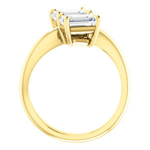 Cubic Zirconia Engagement Ring- The Patti (Customizable Emerald Cut 2-stone Bypass Style)